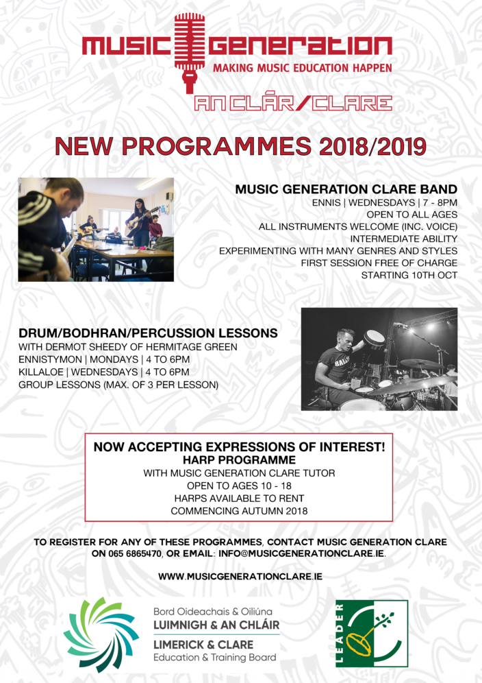 Music Generation Clare - New Programmes Autumn 2018